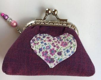Purple Heart Applique Linen Coin Purse