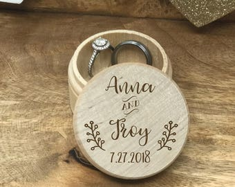 SALE Wedding ring box, Ring Box, Round Wooden Ring Box, Engraved Ring Box, Bride Ring Box, Rustic Ring Box, Cute, Bride Ring Box #250