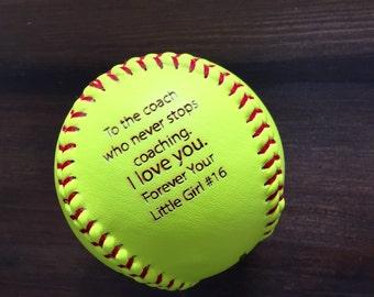 8ac97986f SALE Engraved Softball, Custom Message Softball, Softball Coach Gift,  Softball Dad, Softball Gift, Laser Engraved Ball, Personalized Softbal