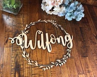 Name Monogram Wood Cutout, Monogram Cutout, Initials Cutout, Monogram wooden cutout wreath name wedding sign