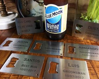 Set of 12 Engraved Credit Card Bottle Openers, Groomsman Gift, Personalized Bottle Opener, 12 bottle openers , stainless steel Bottle Opener