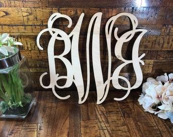 Vine Monogram Wood Cutout, Monogram Cutout, Initials Cutout, Monogram wooden cutout, home decor, monogram sign, paint options