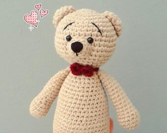 Crochet bear doll stuffed  teddy bear amigurumi doll bear miniature doll bear