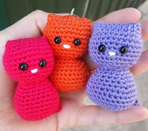 Häkeln Sie Katze Puppe Häkeln Sie Kätzchen Schlüsselanhänger Etsy