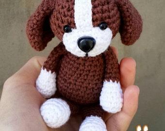 Crochet Amigurumi dog, crochet puppy doll, stuffed toy dog, small knitted puppy toy