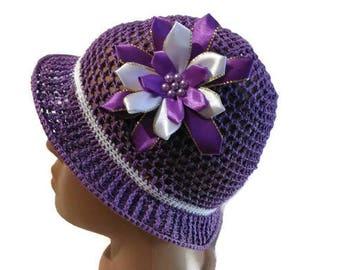 Summer hat crochet, crochet baby hat, hat for a girl, summer hat, girls crochet hat, baby girl crochet, purple hat, cotton hat,