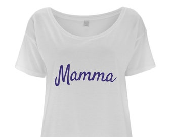 41669631bb5 Mamma - Italian Slogan Women s Tencel Blend Oversized T-Shirt