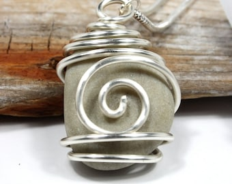 "Spiral Stone Necklace / Wire Wrapped Beach Stone/ -Small ""Tan-ish Green"" Stone"