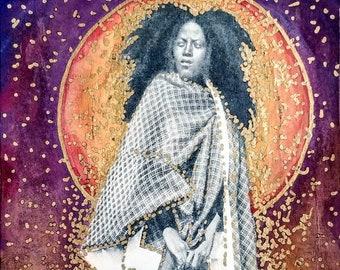 Feminist Art, Warrioress Energy Art, African American Beauty, Gift Under 10, Mystical Wall Art, Visionary Art, Mystical Home Décor