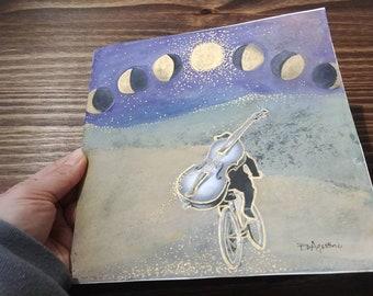 Music Wall Art, Moon Art Original, Moon Artwork, Phases of the Moon Wall Art, Visionary ArtVintage Musician Photo, Bicycle Art, Music Art