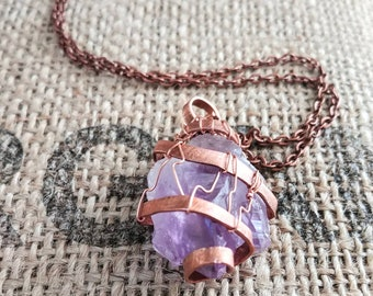 Raw Crystal Necklace for Women, Raw Amethyst Pendant Necklace with Copper, Healing Stone Wrapped Necklace, Natural Amethyst crysal Point