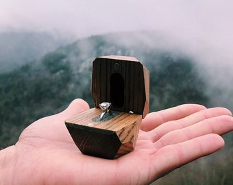 Ring box, Wood ring box, Proposal ring box, Wedding ring box, Engagement ring box, Wooden ring box, Secret ring box, Rustic ring box