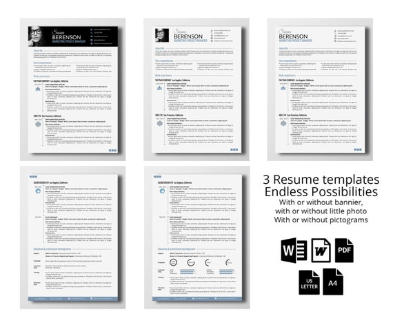 3 Professional Resume Templates 2 Pages Word / 45% Off