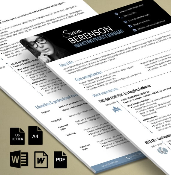professional resume 2 pages word  with an impactful banner