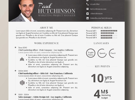 Impactful Design And Professional Resume 1 Page Word Etsy