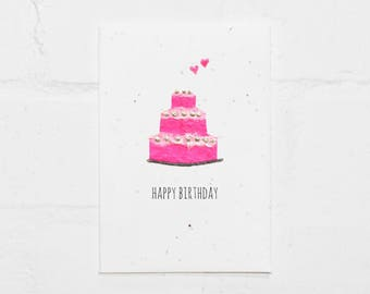 Pink Birthday Cake / kids / children/ girls / Seeded / Plantable / recycled / sustainably sourced / card