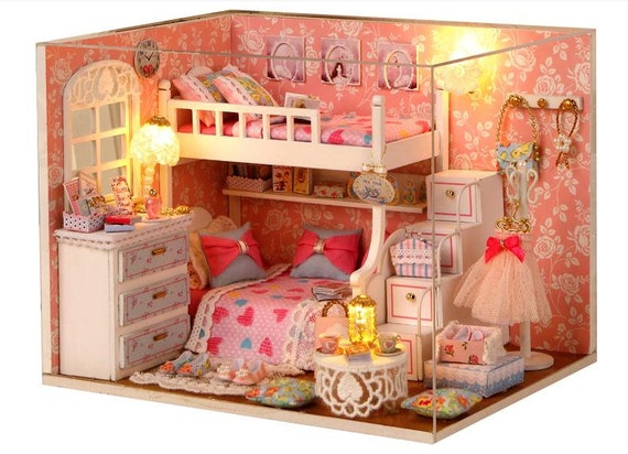 Miniature Dollhouse Diy Princess Bedroom With Light Cute Room Etsy