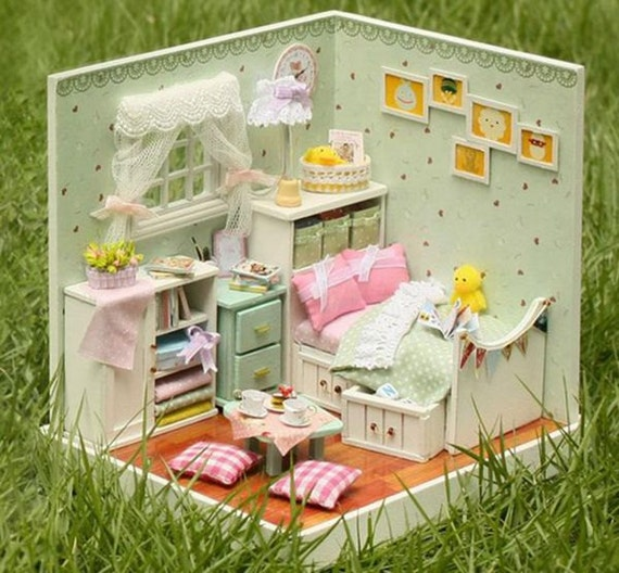 Miniature Dollhouse Diy Bedroom With Light Cute Room House Etsy