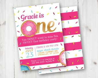 First Donut Birthday Invitations Grow Up Party DIY