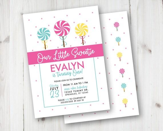 Lollipop birthday invitations lollipop party invitations etsy image 0 filmwisefo