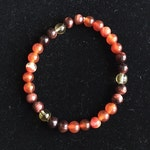 Red Line AGATE, CITRINE and Red TIGER Eye Crystal Bracelet 7 3/4  inches