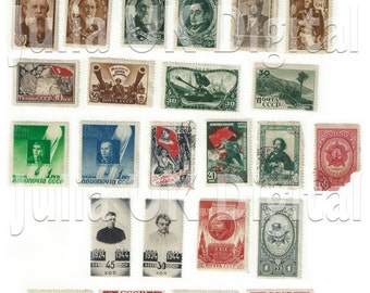 29 old Russian Postage Stamps - Digital scan - Instant Download for hang tags, charms, collage, journals, jewelry