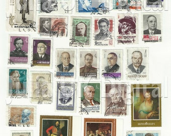 31 old Soviet - Russian Postage Stamps - Digital scan - Instant Download for hang tags, charms, collage, journals, jewelry