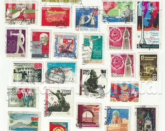 30 old Soviet - Russian Postage Stamps - Digital scan - Instant Download for hang tags, charms, collage, journals, jewelry