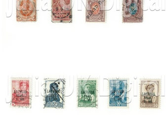 9 old Russian Postage Stamps - Digital scan - Instant Download for hang tags, charms, collage, journals, jewelry