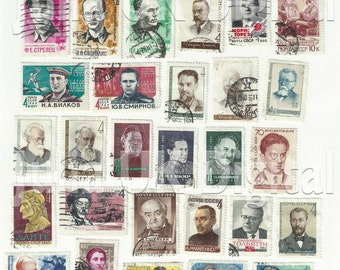 37 old Russian Postage Stamps - Digital scan - Instant Download for hang tags, charms, collage, journals, jewelry