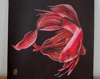 Fighting fish orange-red- Original painting