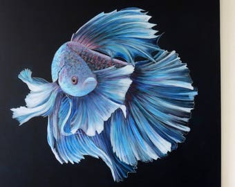 Blue fighting fish - Original painting