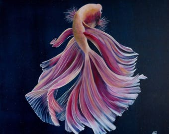 Pink fighting fish - Original painting
