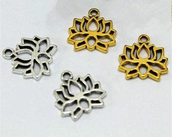 Rooted Lotus Charm Holder Wholesale Bulk Lotus Charms 3 Lotus Charms Gold