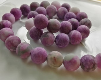 Frosted Beads Violet Beads Purple Beads Matte Beads Lilac Beads Frosted Charoite Unfaceted Oval Matte Charoite