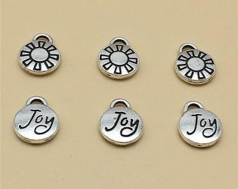 40pcs tibetan silver tone oval Joy lettering charms EF1599