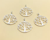 50pcs Silver Life Tree Charms ,Double Sided Charm,Tree Pendant ,Beading Jewelry Finding