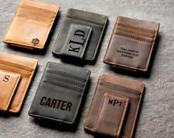 39ef1c2c191f Personalized Leather Magnetic Money Clip The Sanibel by Left Coast Original