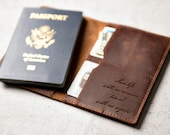 Personalized Leather Passport Cover Holder by Left Coast Original