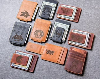 Gamer Inspired Personalized Leather Magnetic Money Clip by Left Coast Original