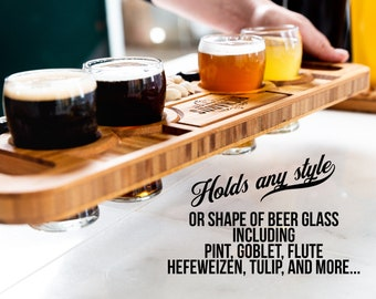 Personalized Beer Flights and Charcuterie Planks - 4 Styles and Gift Sets Available