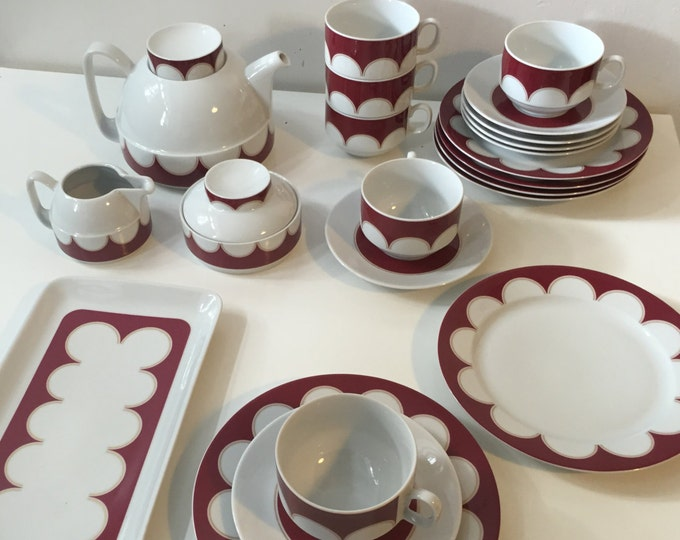 Vintage 70s Schirnding Bavaria modernist afternoon tea service for 6