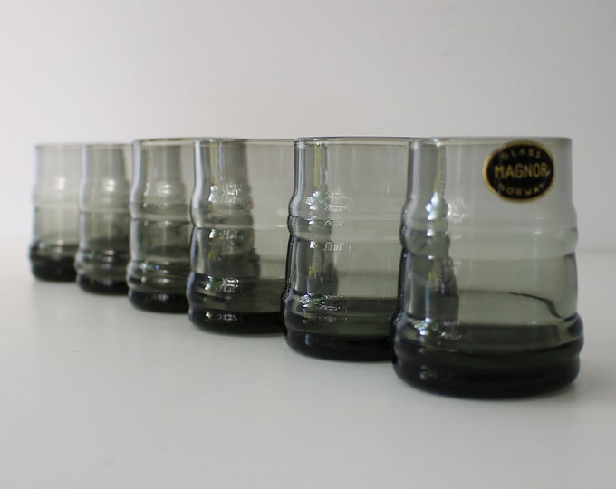 6 Norwegian vintage smoked glass shot glasses by Magnor of Norway 60s 70s