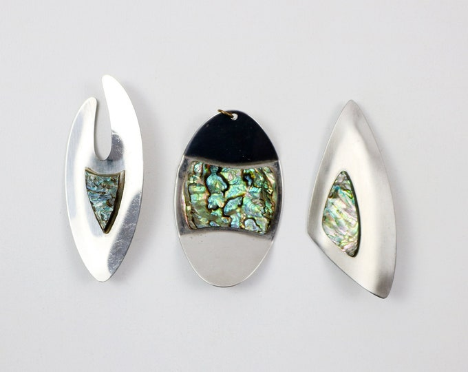 1970s modernist stainless steel and abalone shell mother of pearl brooch or pendant