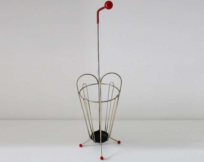 50s 60s atomic umbrella stand with red balls and drip tray - gilt finish