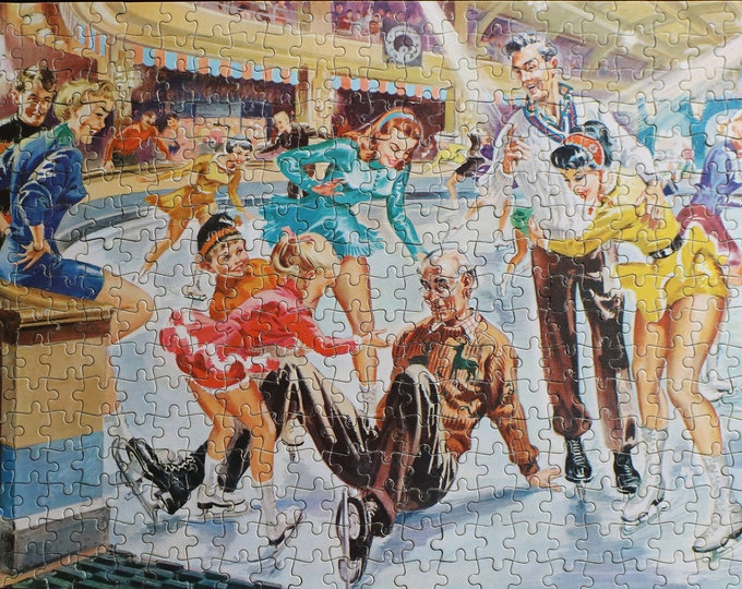 Mid century jigsaw puzzle - The Helping Hand by Good Companion - over 400 pieces - Ice skating scene