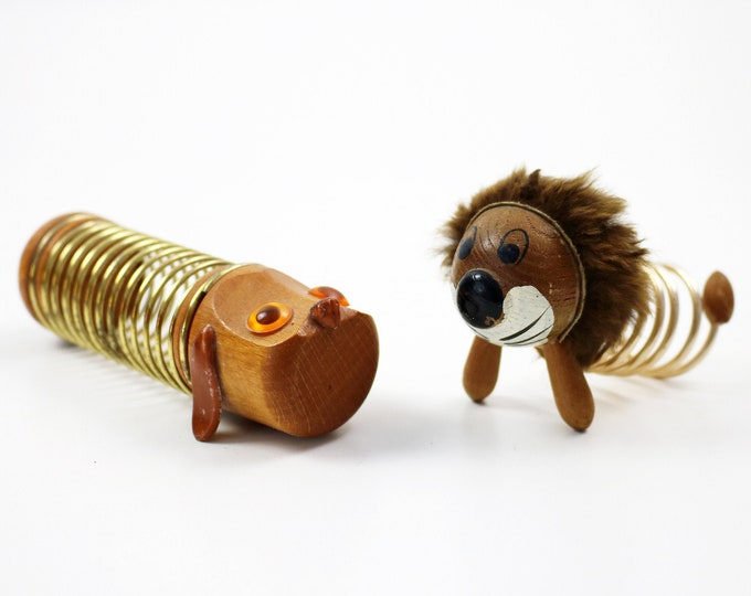 Mid century teak and coiled wire lion or sausage dog letter rack - dachshund