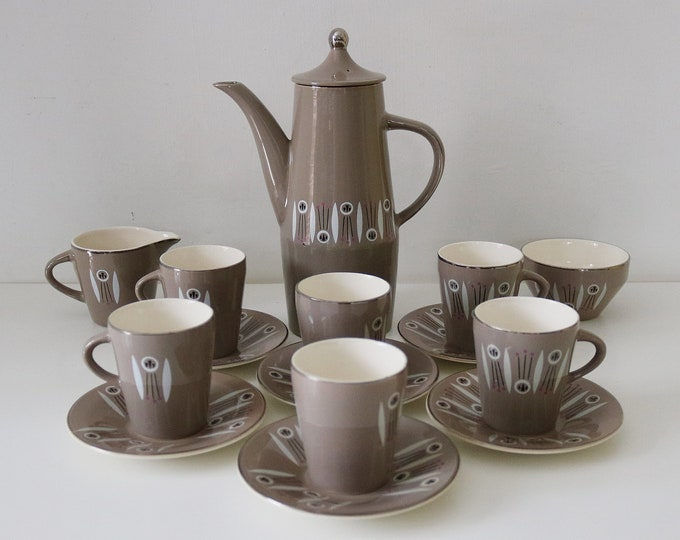 1950s atomic coffee set Kon Tiki design by Palissy 16 pieces. Rare.