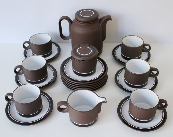 1970s Hornsea Contrast tea service for 6 people - Design Centre award - Martin Hunt - oven to table / dishwasher and microwave safe.