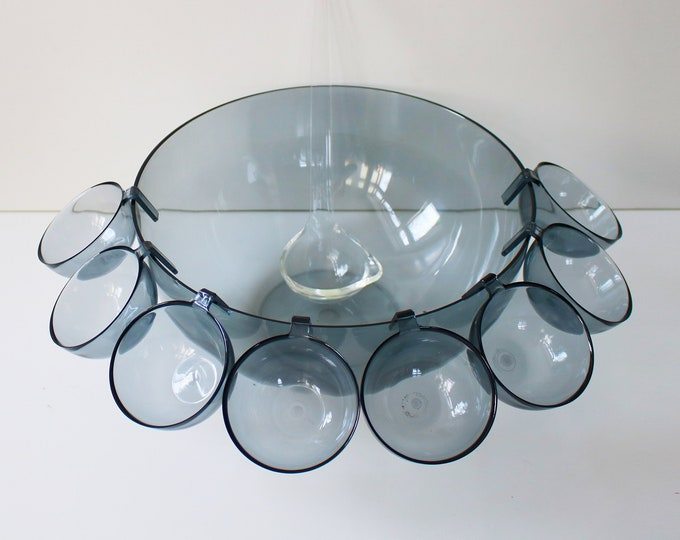 70s Guzzini Roma punch bowl set - grey smoked acrylic plastic modernist perspex